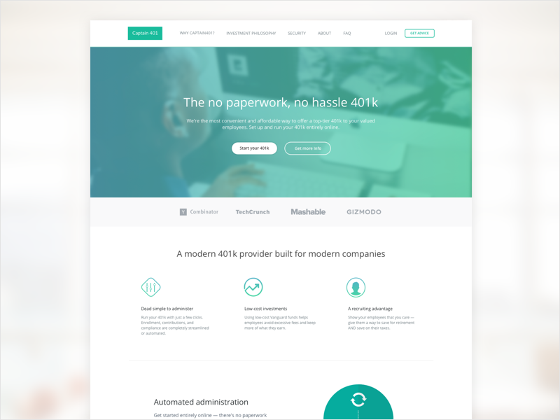 Captain 401 Homepage Design startup product homepage creative web site ux ui investment company