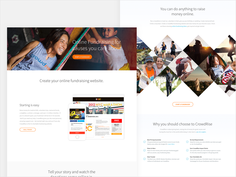 CrowdRise Online Fundraising Page fundraising gradient startup startup  marketing homepage creative web site product ux ui