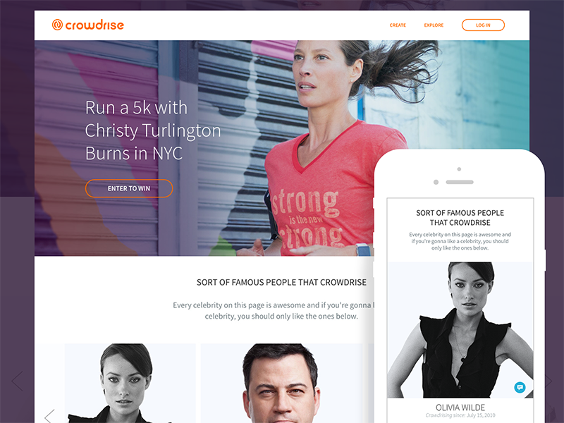 CrowdRise Celebrity Page gradient responsive fundraising celebrity startup product ux ui