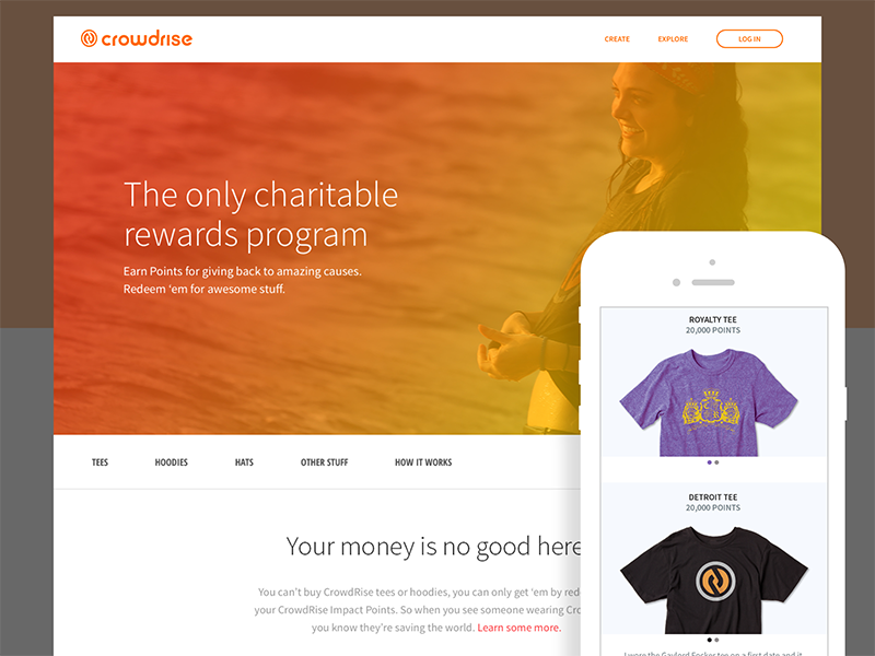 CrowdRise Rewards Page e-commerce responsive fundraising checkout startup product ux ui