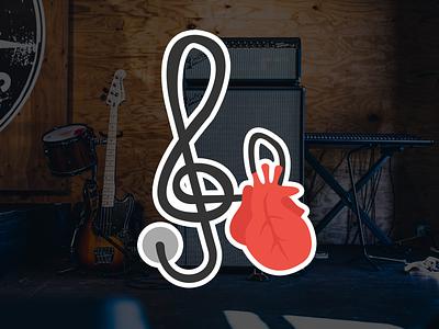 Pick4Song - Heart sticker flat design heart guitar music sticker