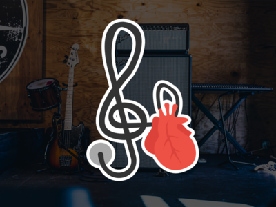 Pick4Song - Heart sticker flat design heart guitar music sticker