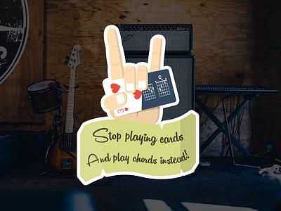 Pick4Song - Rock hand sticker sticker guitar music metal rock