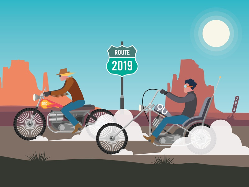 90blog Road Map to Annual Agency Planning desert motorcycles motorcycle agency vector illustration design