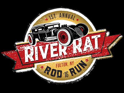 River Rat Rod Run Logo illustration branding cars vector event emblem logo