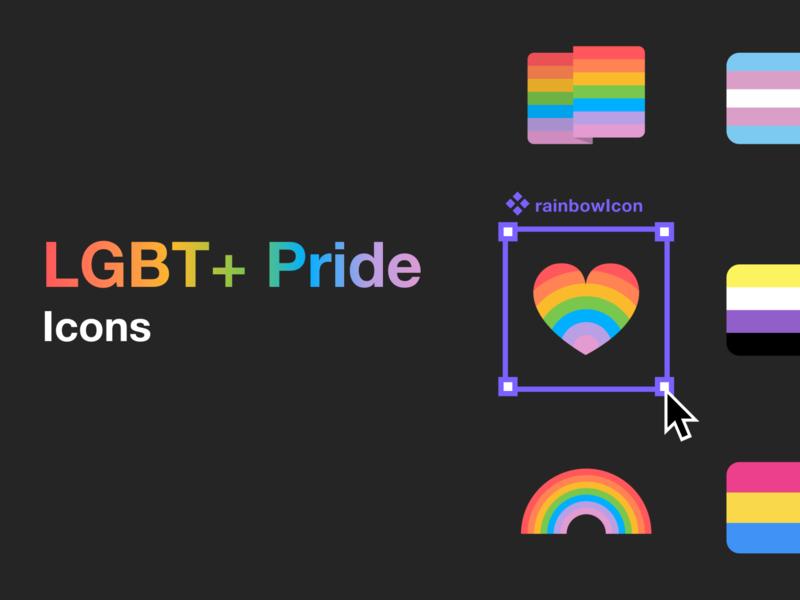 LGBT+ Pride Icons rainbow colors ui figma design figmadesign free icons download freebies resources figma pride 2020 pride month free free icons icons pride lgbtqia lgbt