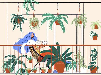 Cat lover chill hair bluehair houseplants planover girl catlover cat balcony