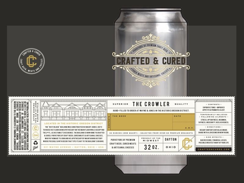 Crafted & Cured Crowler beer label beer can beer crowler