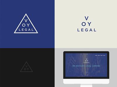 VOY logo study typography stacked type logotype logo blue triangle legal