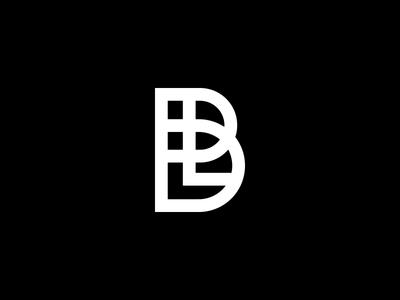 BL Monogram letterform letters l b white black linework logo monogram bl