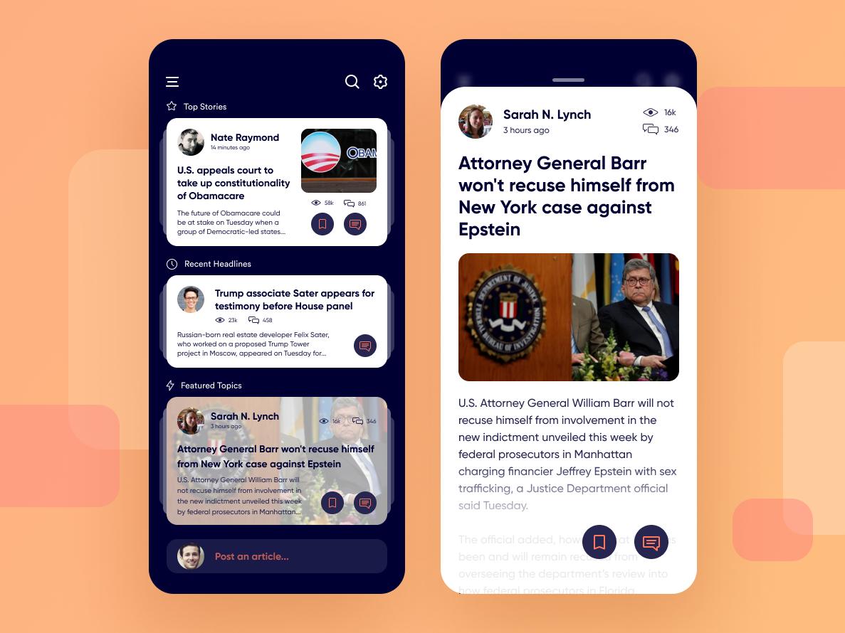 Newsfeed App discover post community blog politics design round communication reading dark social blue stratos figma ios mobile uiux app newsfeed
