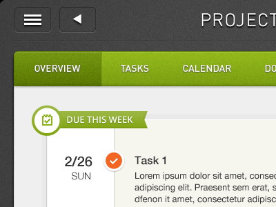 Project overview - iPad ipad ios task project management green calendar