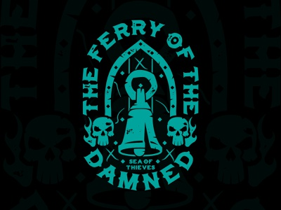 Sea of Thieves - Ferry Of The Damned Shirt vintage shirtdesign fashion apparel shirt design pirategraphic illustrator death skeleton skulls pirate game videogame xbox sea of thieves skull pirate illustration bell shirt
