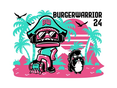 BurgerWarrior24 - BurgerPirate sunset anime cute beach cat logo illustration pirate gaming streamers character twitch logo branding streamer twitch