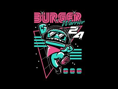 BurgerWarrior24 - JumpArcade burgers anime cute cartoon character apparel graphics apparel merch twitch.tv pixel arcade game video game arcade retro burger twitch streamer