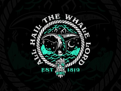 HitboTC - All Hail The Whale Lord graphic tees graphic tee shirt nautical rope wood vintage ocean pirate apparel graphics illustration whale apparel merch sea of thieves twitch logo hitbotc highscoretees twitch