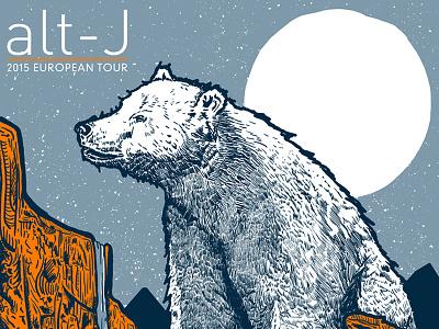 Alt-J - European Tour Poster print screenprint band bear illustration poster
