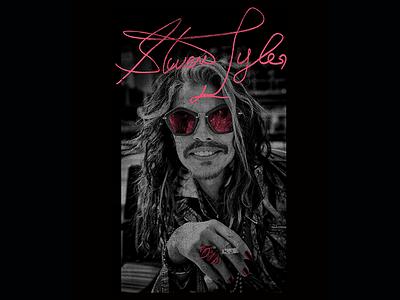 Steven Tyler - Pink Shades grayscale texture vintage rock photo steven tyler