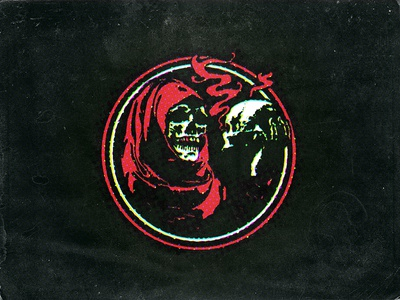 Skull Hold cut and paste street photocopy punk illustration grim reaper