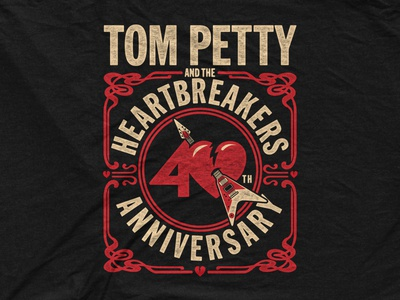 tom petty the heartbreakers 40th anniversary tour tee. Black Bedroom Furniture Sets. Home Design Ideas