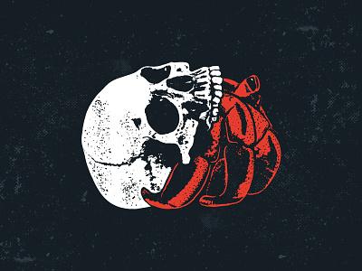 Hermit Skull surfer cali beach vintage illustration hermit crab skull summer