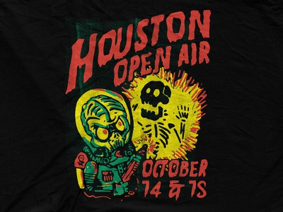 Houston Open Air - Aliens Attack retro skeleton lazer gun cartoon illustration attack alien vintage houston