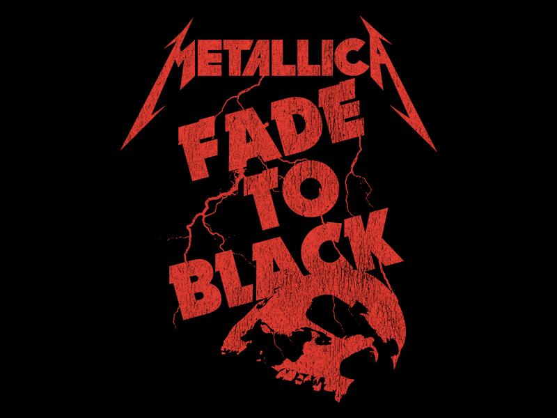 Metallica - Fade To Black metal tee bandmerch metal lightning vintage rock skull fade to black metallica