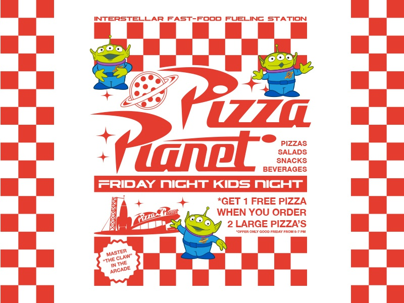 Toy Story - Pizza Planet Kids Night fashion apparel fast food arcade pizza aliens pixar disney toy story