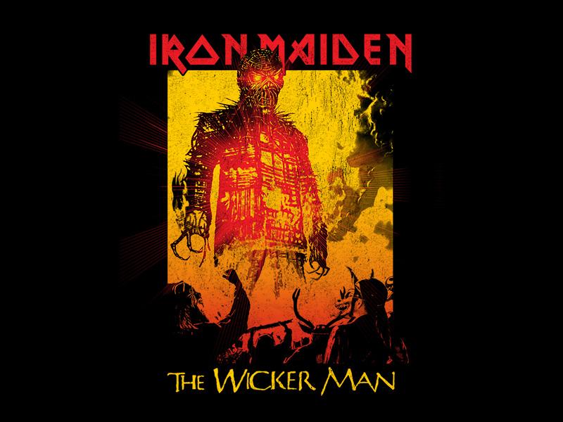 Iron Maiden - Wickerman logo texture skull apparel design shirt design metal shirt emblem the beast metal vintage fashion rock shirt wicker man 666 apparel bandmerch hot topic fire wickerman iron maiden