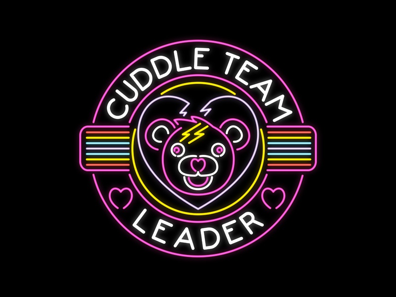 Fortnite - Neon Cuddle Team Leader emblem badge apparel design graphic art graphic tee victory royal battle royal cuddle team leader cute bear line art neon sign skins fortnite