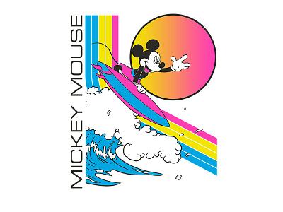 Mickey Mouse - Surf Mouse disney art stripes merch vintage disney world fashion shirt surfer summer old navy apparel retro surfing disneyland mickey mickey mouse disney