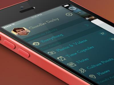 Remember.me Slide Menu slide menu blue ios iphone side menu hexagon