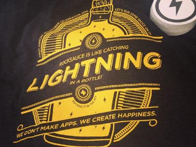 2014 Rocktober Commemorative T-Shirt rocktober bottle lightning rocksauce black gray t-shirt texas austin linework