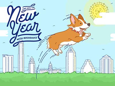 Rocksauce New Years Card 2017 tax austin script new years new years card holiday card corgi