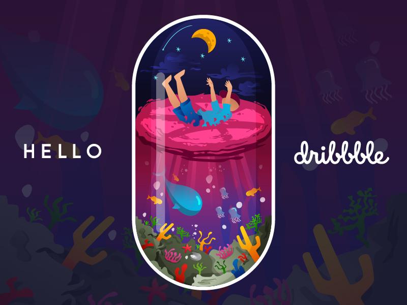 Hello Dribbble sea character aquarium world underwater beautiful first first shot hello debut