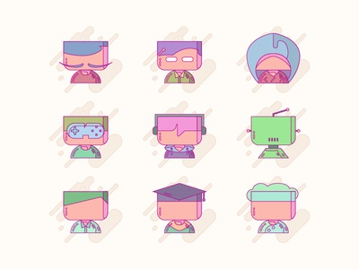 Profession Character chef student businessman robot youtuber gamer programmer copywriter designer profession iconography character icon uiux user ui interface design web illustration