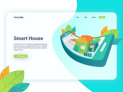 Smart House Landing Page smartphone house smart landingpage character uiux user ui interface design web illustration