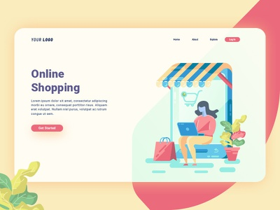 Online Shopping Landing Page sale shopping online icon landingpage character uiux user ui interface design web illustration