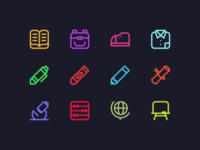 Neon Icons for School dark neon learning school education design line iconset iconography icon uiux web interface user ui illustration