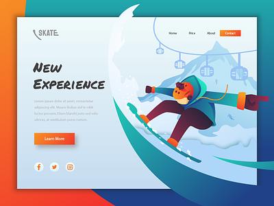 Skate - Landing Page ice skate sport uiux vector landingpage character user ui interface web design illustration