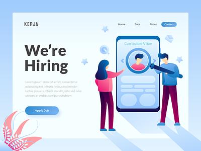 Hiring - Landing Page work hiring landingpage uiux character user ui interface web design illustration