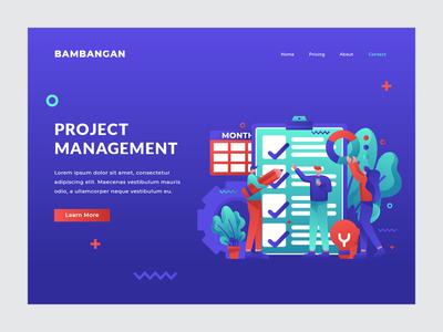 Project Management - Landing Page business management project team vector landingpage character uiux ui user interface web design illustration
