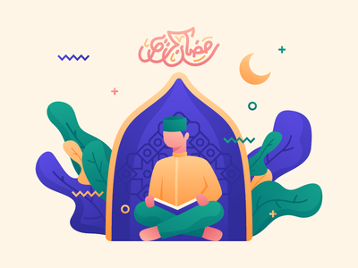 Ramadan is coming quran moslem islamic mubarak eid kareem ramadan character design illustration