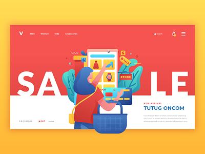 Online Shopping - Landing Page discount sale shopping online character uiux landingpage user ui interface web design illustration