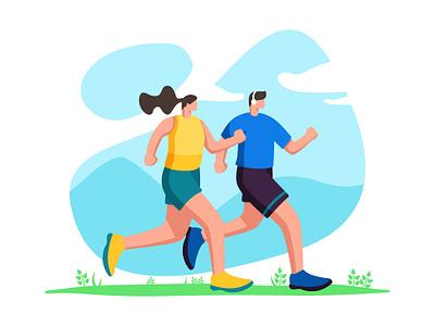 Jogging Illustration morning user uiux couple sport jogging landingpage character ui interface web design illustration
