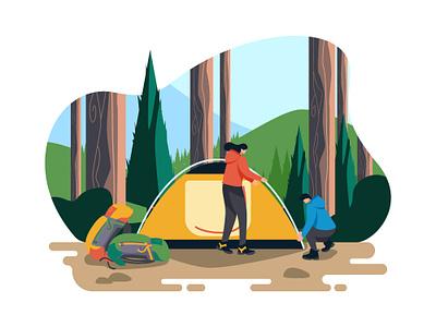 Camping Ceria Illustration tent jungle nature outdoor camping landingpage character ui interface web design illustration