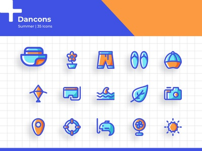 Summer Icon Set - Dancons vacation summer app branding illustration line iconset iconography icon uiux user ui interface web design