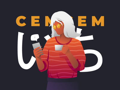Cemcem Coffee girl woman gadget coffee vector landingpage character user ui web design illustration
