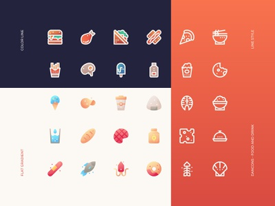 Food and Drink Icon Sets - Dancons interface iconography iconset design web uiux user ui cooking drink food sets icon