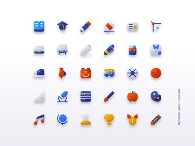 Back to School Icon Sets - Dancons learning student back to school gradient interface ui iconset iconography icon web illustration design